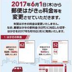 今日(平成29年6月1日)から郵便はがきの料金等を変更へ 62円と値上げに!