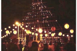 溝口竈門神社千灯明 千年の歴史をもつ神社で開催される伝統行事