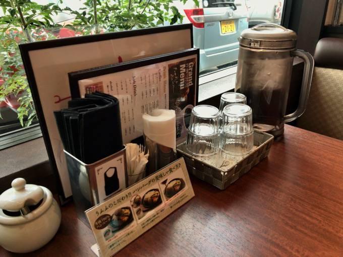元町珈琲うふふ テーブルには水とエプロン