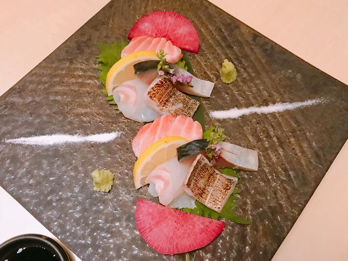 酒と飯しほうよし 鮮魚を使ったお造り3点盛り