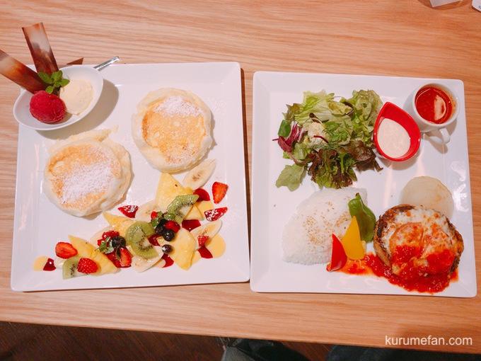 むさしの森珈琲 鳥栖古賀店 パンケーキ(シーゾナルフルーツ)とメルトチーズハンバーグプレート