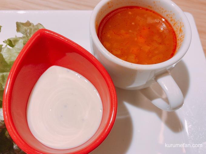 メルトチーズハンバーグプレート スープ