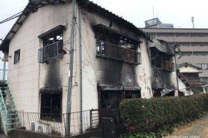 久留米市野中町 木造2階建てアパート矢野荘が火事により全焼 現場の様子
