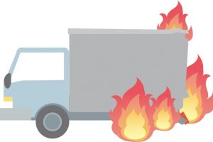 久留米市 西鉄久留米駅付近 トラック炎上 一時通行止めに【車両火災・火事】
