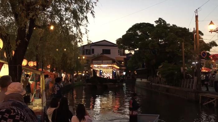 柳川市 沖端水天宮祭 舟舞台「三神丸」舟舞台移動・囃子演奏