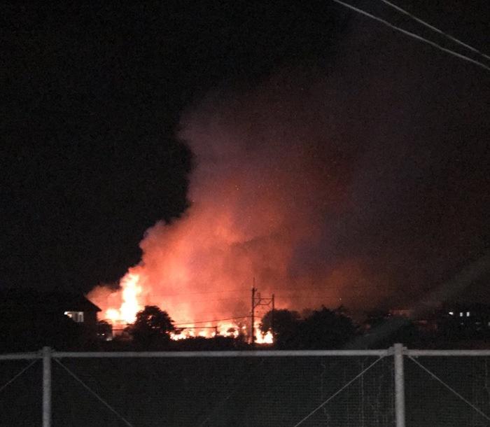 久留米市北野町中 三井中央高等学校 北側付近の火事