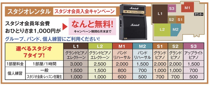 小川楽器 久留米シティプラザ店 スタジオレンタル