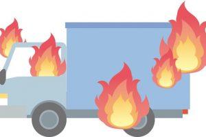 焼き鳥移動車から出火 車が全焼 アスタラビスタ八女インター店の屋根の一部を焼く