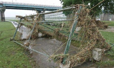 久留米市 リバーサイドパーク 大雨被害により7月末まで公園が利用できない状況