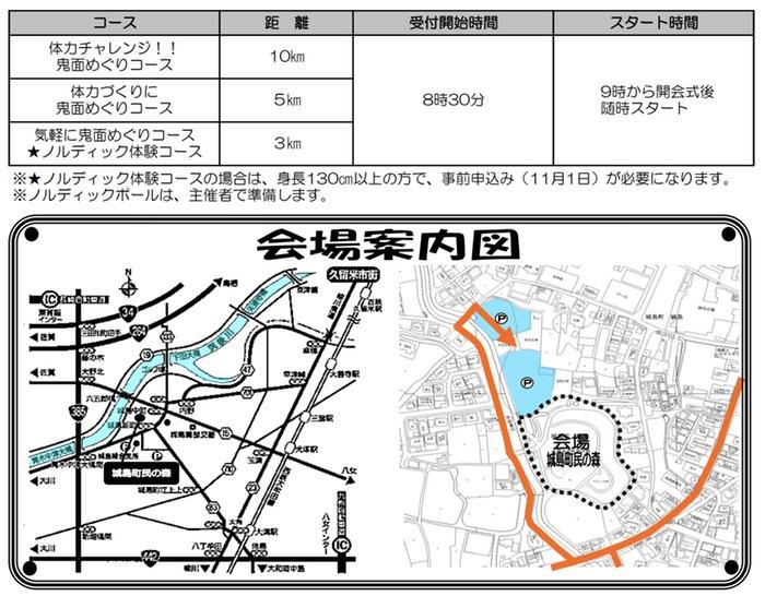 城島鬼面(きめん)ウオーキング大会 コース内容・会場案内図