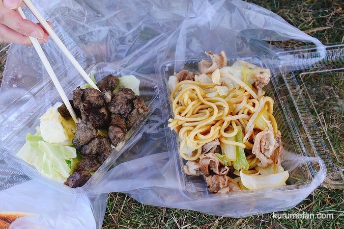 鹿児島県鹿児島市西伊敷のお店で「黒豚の焼きそば」と「サイコロステーキ」