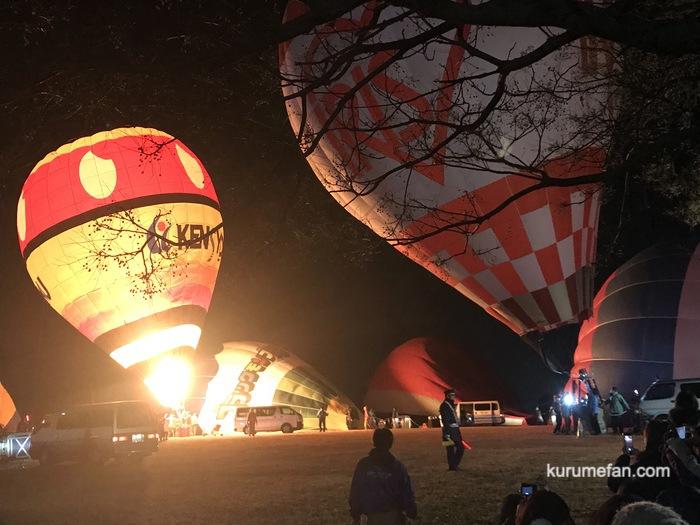 吉野ヶ里光の響 熱気球の夜間係留ナイトグロー