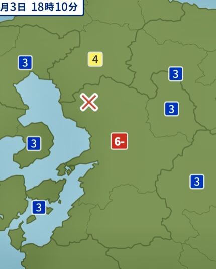 熊本地方震度6の地震 筑後地方震度4 久留米市 震度3の地震