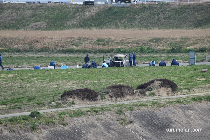 久留米市安武町 河川敷駐車場で車全焼 1人の遺体が見つかる