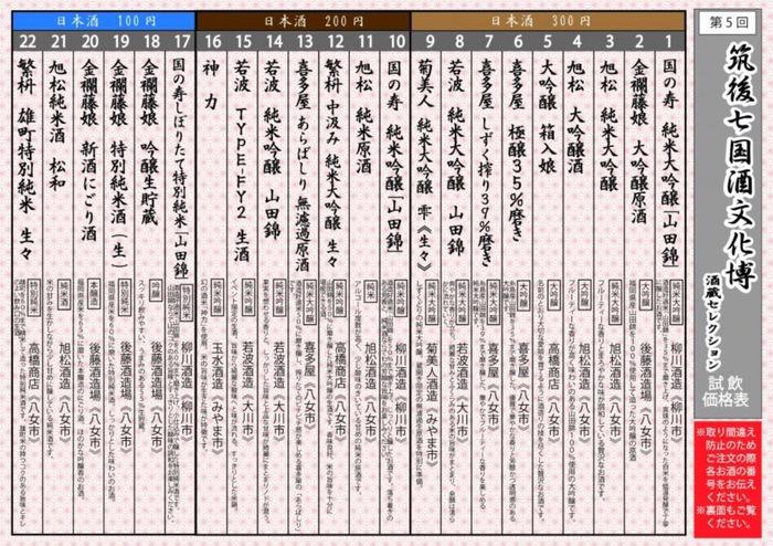 筑後七国酒文化博 飲み比べコーナー 酒蔵セレクション