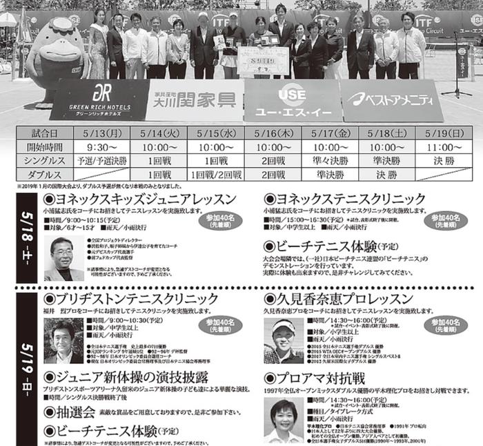 久留米市ユー・エス・イーカップ国際女子テニス2019 イベント内容