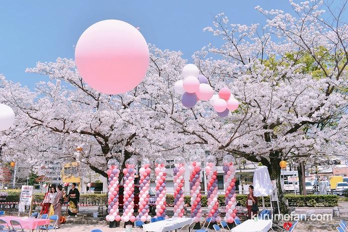 文化街さくら祭り 桜とコラボした美しい会場