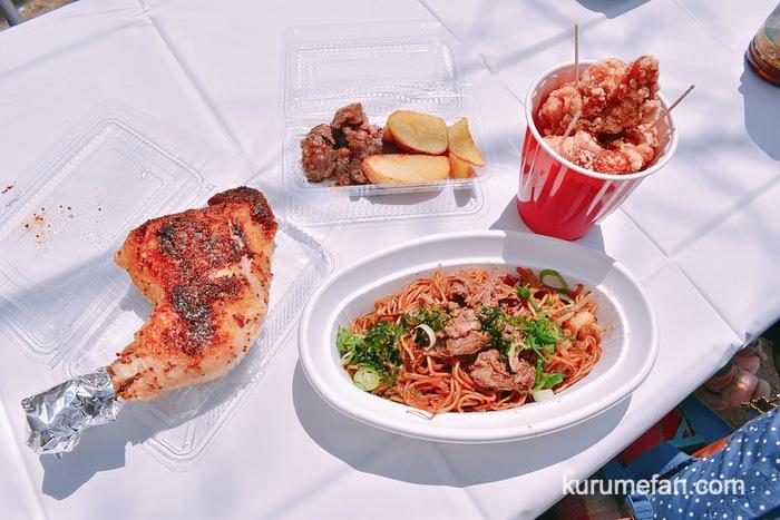 TEPPNYAKI STYLE JINの「ステーキ&ポテト」、肉がたくさん入った「焼そば」、中津からあげ「からいち」の唐揚げ、フランス酒場ルプーの「豪快!!骨付鶏モモ肉のハニーマスタードソース」