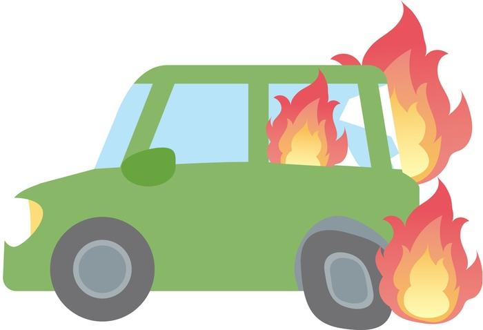 久留米市本町 荘島小学校南東側付近で車両火災が発生