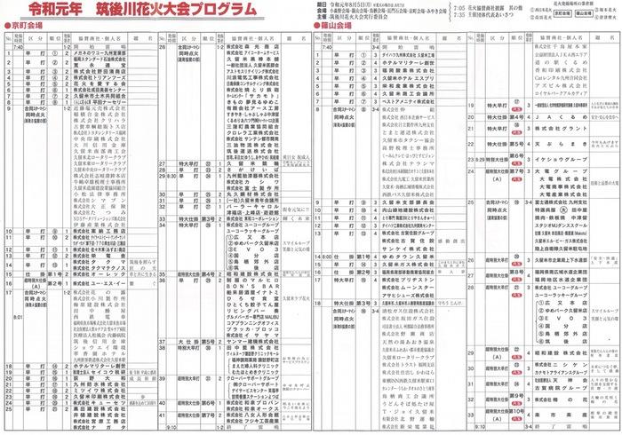 第360回 筑後川花火大会のプログラム