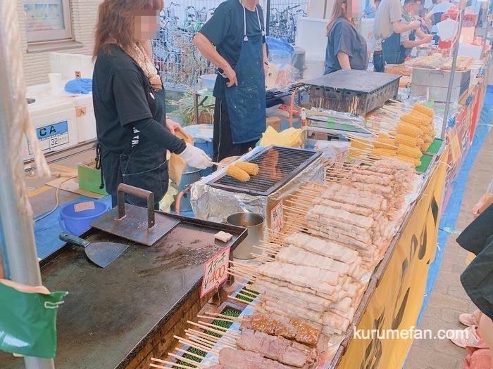 久留米市 土曜夜市 久留米名物 焼きとりやかき氷など露店がたくさん並ぶ
