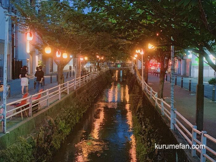 久留米市 池町川 提灯の明かり