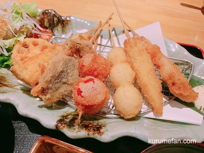 久留米市東町 魚・串料理「つぼみ」串カツ定食 6本
