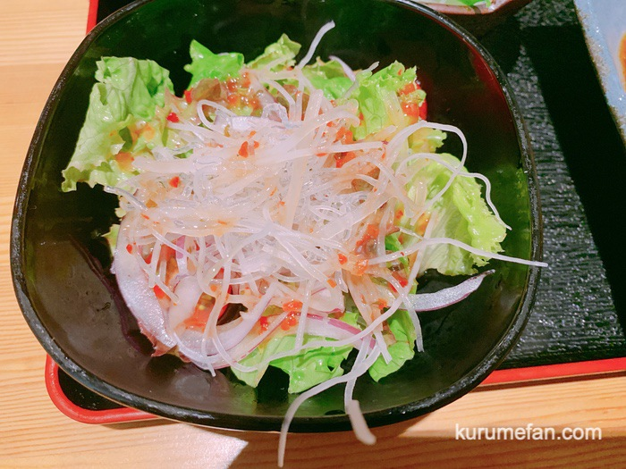久留米市東町 魚・串料理「つぼみ」日替り定食 酢豚 サラダ