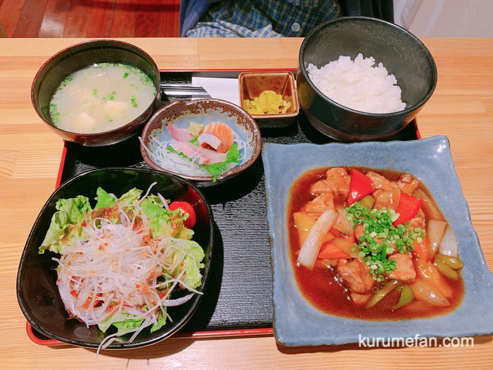 久留米市東町 魚・串料理「つぼみ」日替り定食 酢豚