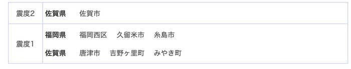 佐賀県南部を震源地とする地震 最大震度2 久留米市は震度1