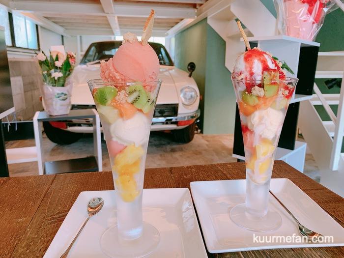 KURUMEジェラートカフェ(久留米ジェラートカフェ)手作りジェラートがのったミックスフルーツパフェ