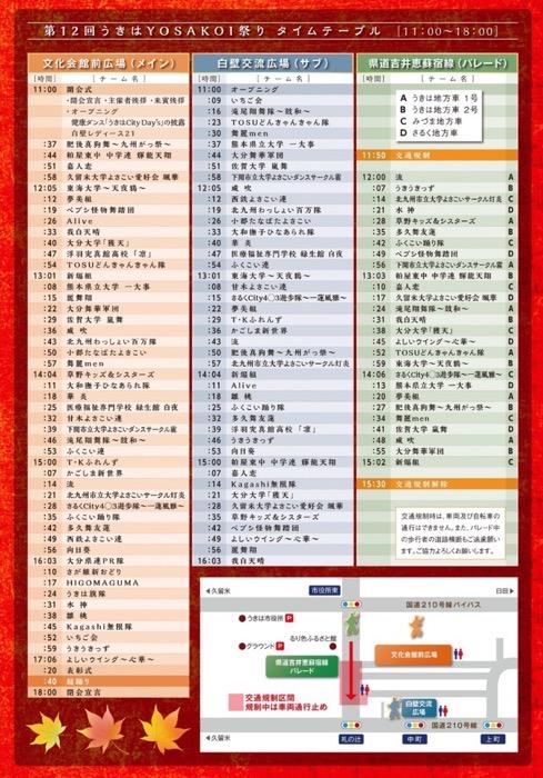 第12回 うきはYOSAKOI祭り 出場チームのタイムスケジュール
