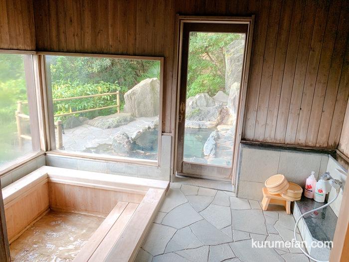 みのう山荘 露天付き家族風呂 内湯と浴槽と洗い場