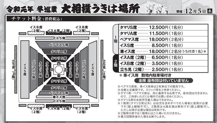 大相撲 冬巡業 うきは場所 チケット料金