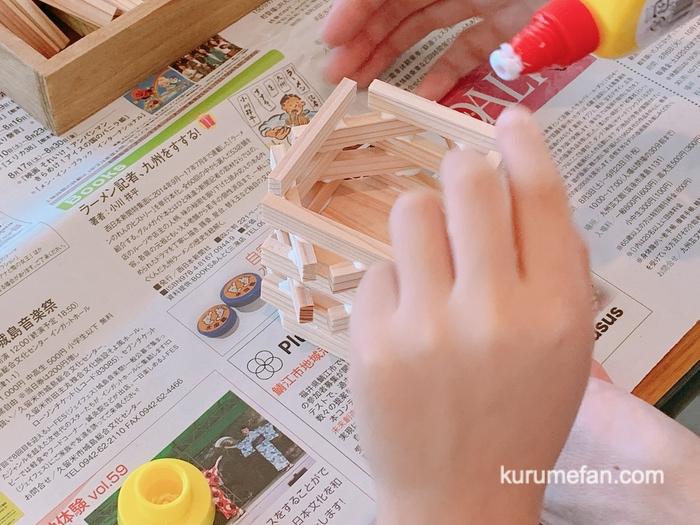 大川木工まつり おもてなし広場 木工体験 ペン立て制作