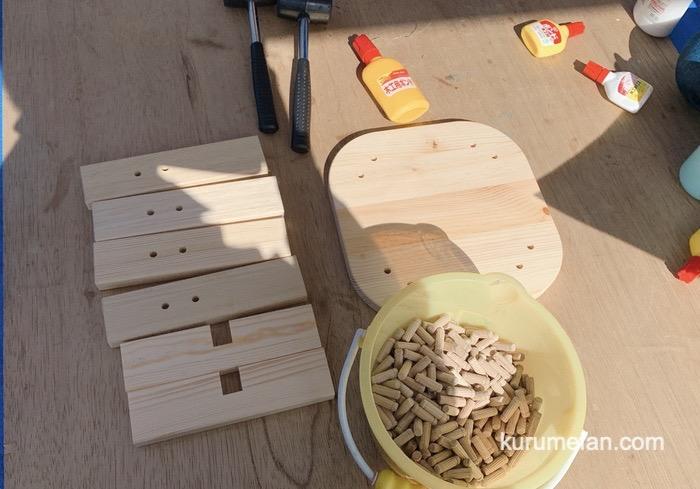 大川木工まつり ちびっこ広場で親子木工教室(椅子制作)