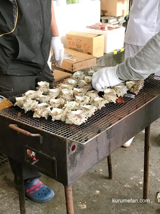 久留米市 市場祭り サザエのつぼ焼き