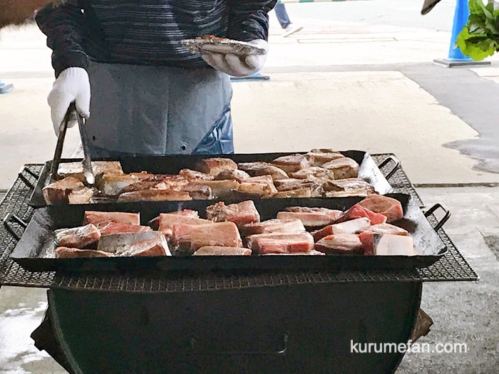 久留米市 市場祭り マグロのステーキ