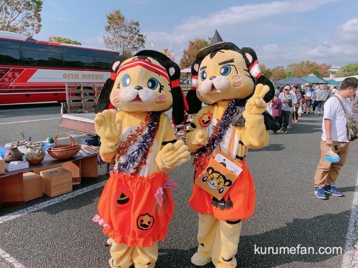 吉野ヶ里夢ロマン軽トラ市のキャラクター「夢吉」と「夢子」