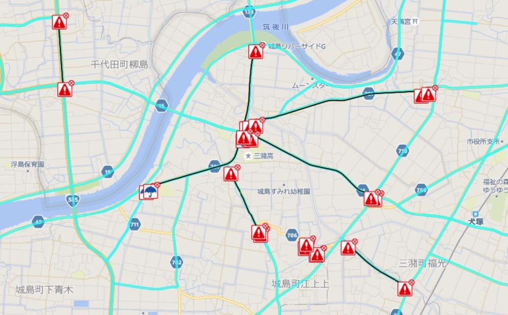 久留米市城島町の交通規制(通行止め・冠水)状況