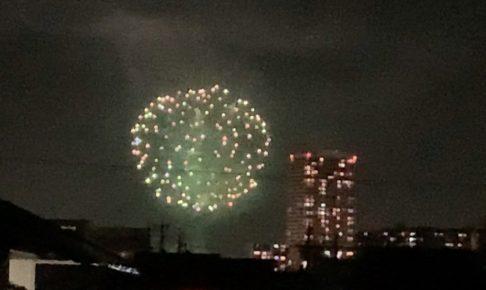 今日、2020年10月26日 久留米市 筑後川河川敷で花火が上がってる!