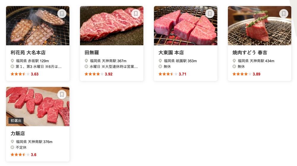 食べログ 焼肉 WEST 百名店 2020に入った福岡県の5店