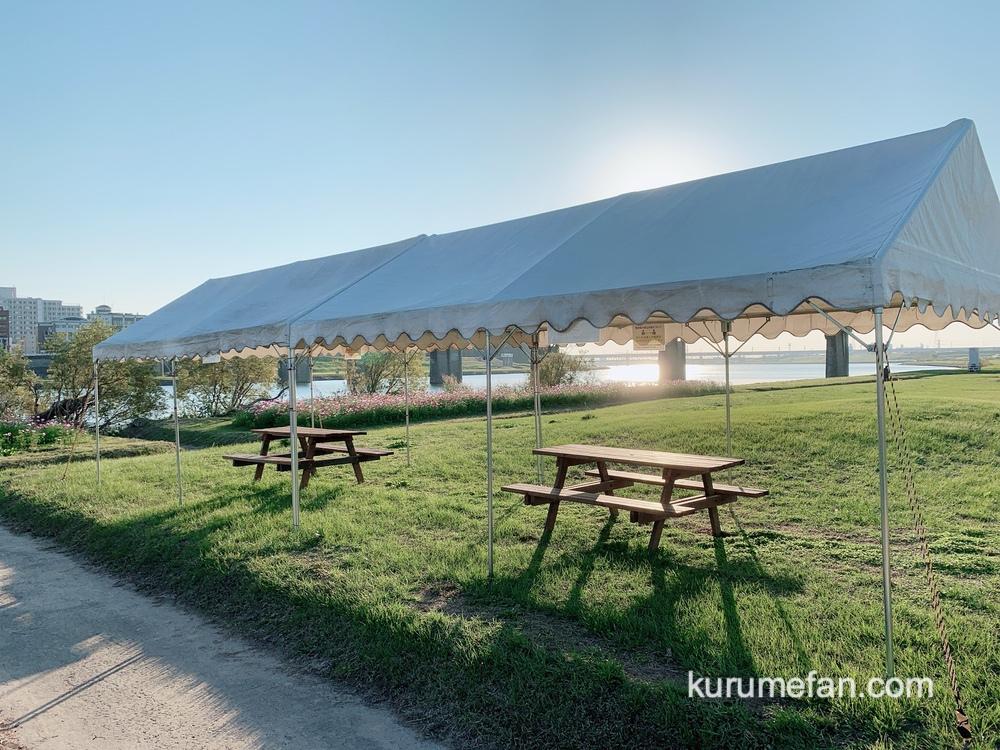 リバーサイドパーク小森野地区 休憩用のテントとテーブル