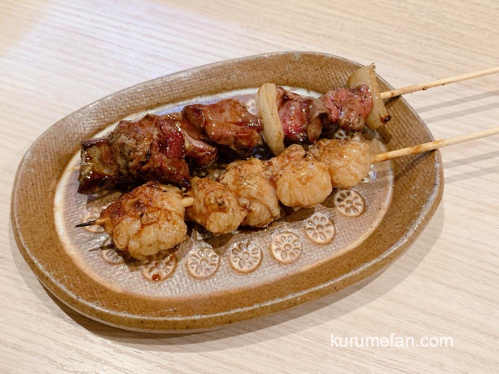 久留米市 串焼 ほたる川 丸腸の串焼き