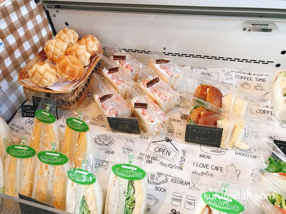 リトルガーデン 店内 お店おすすめの「シュークリームメロン」やサンドイッチ・フルーツサンドなどサンド系