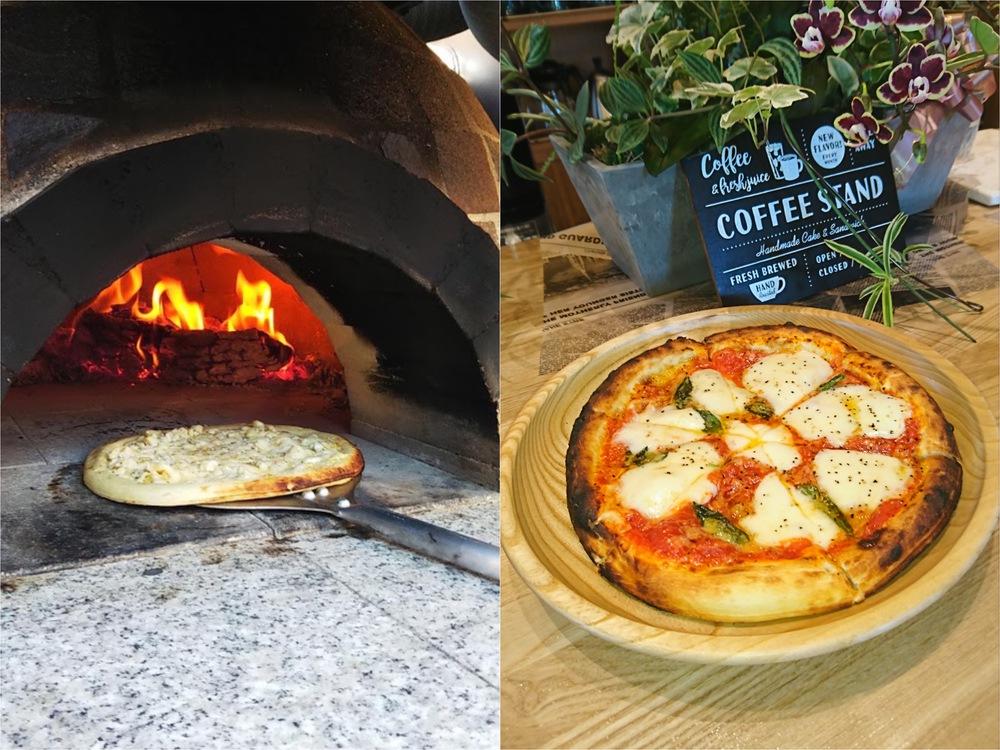 カフェ イルヴェント 石窯を使って薪の強い火力で一気に焼き上げる本格ピザ