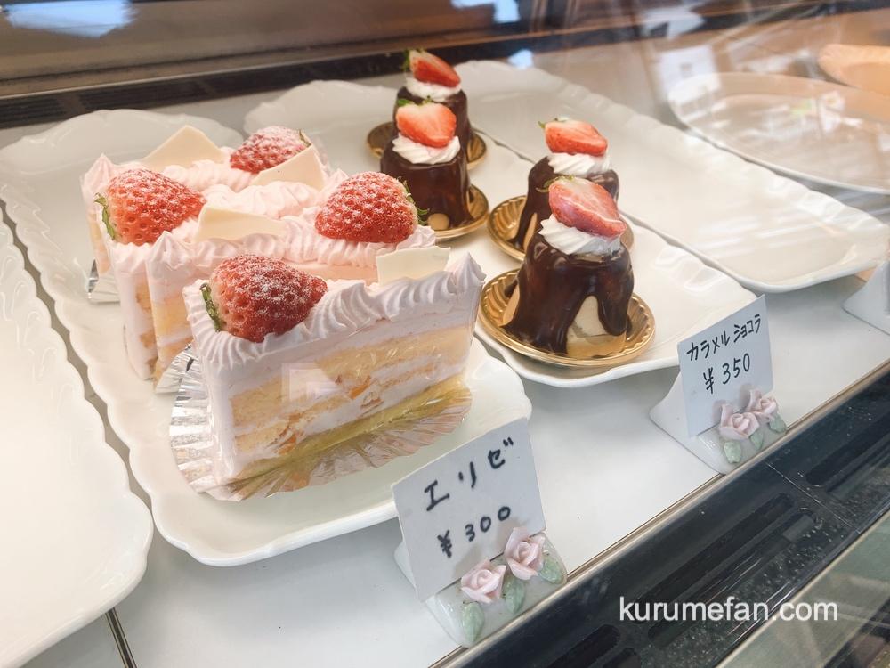 セシルの花束 店内ショーケース 美味しそうな色々なケーキ