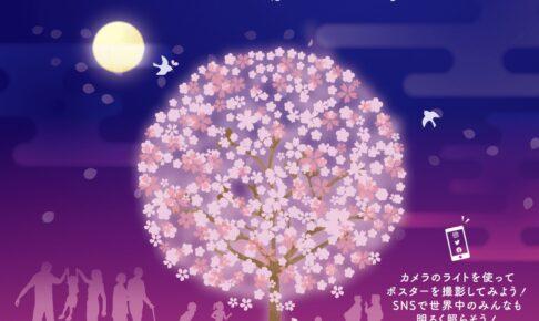 久留米市「文化街桜ライトアップ」三本松公園の池町川沿いの桜ライトアップ