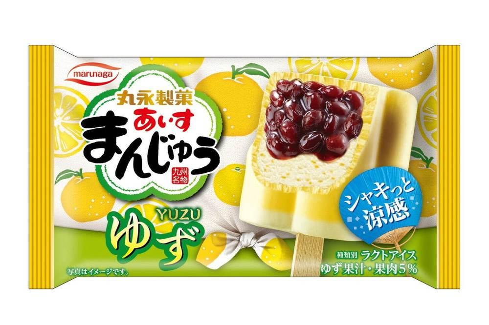 """丸永製菓 新商品 暑い夏にぴったりな""""シャキっと涼感""""アイス「あいすまんじゅう ゆず」"""