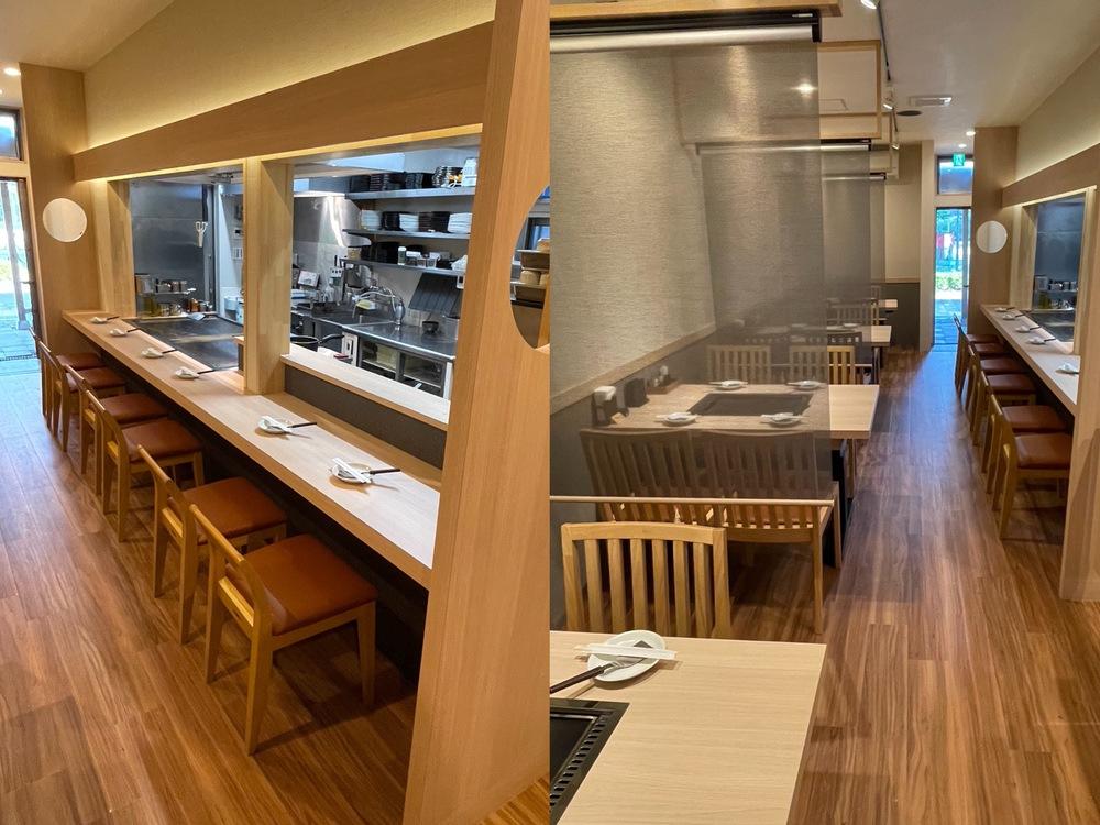 鉄板食堂みなはれ スタイリッシュな店内 オープンキッチン